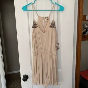 NWT! PPLA lined cream romper with beading detail S